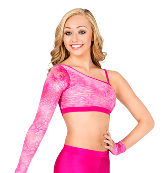 Adult One Sleeve Glitter Lace Crop Top - Style No N7196