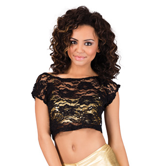 Adult Short Sleeve Lace Crop Top - Style No N8660