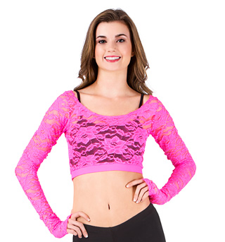 Adult Long Sleeve Lace Crop Top - Style No N8789