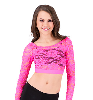 Girls Long Sleeve Lace Crop Top - Style No N8789C