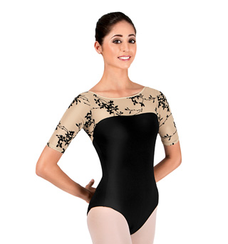 Adult Flocked 3/4 Sleeve Leotard - Style No NAB100