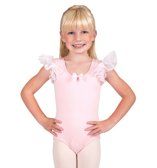 Child Flower Glitter Flutter Sleeve Leotard - Style No PB109C
