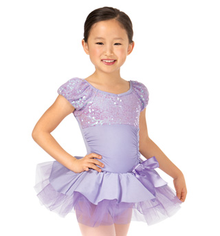 Child Short Sleeve Bustled Sequin Tutu Costume Dress - Style No PB2006C