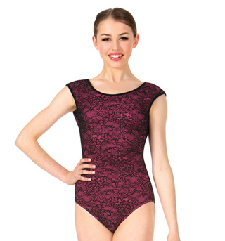 Womens Lace Overlay Short Sleeve Leotard - Style No RDE1624