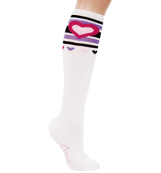 Adult White Heart Knee High Socks - Style No S3010