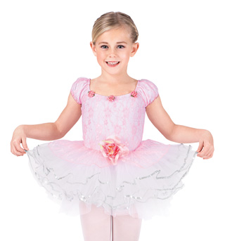Child Rose Lace Tutu Dance Costume Dress - Style No SK582