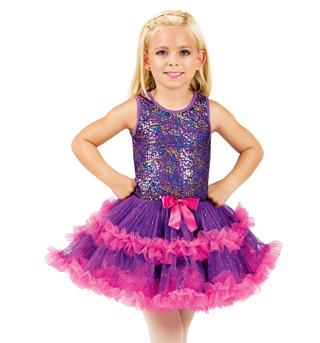 Girls Purple Sequin Bodice Tank Tutu Camisole Costume Dress - Style No SK935