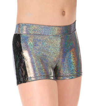 Girls Metallic Floral Lace Dance Shorts - Style No ST4823