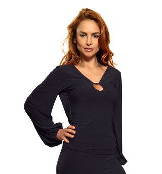 Ladies Long Sleeve Draped Top with Lace - Style No T414