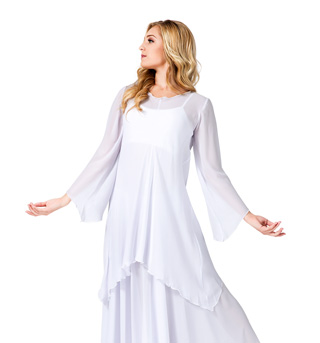 Women's Worship Long Sleeve White Tunic - Style No WC101WHT