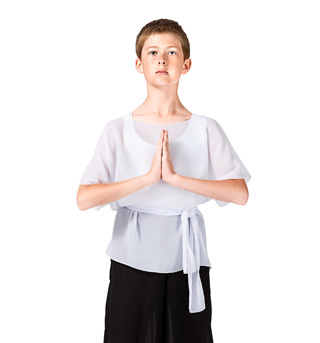 Child White Short Sleeve Worship Tunic - Style No WC102CWHT