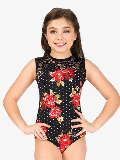 Girls Polka Dot Floral Tank Leotard - Style No 18060C