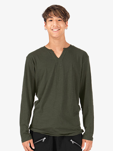 Mens Slub Long Sleeve V-Cut Crew T-Shirt - Style No 6562x