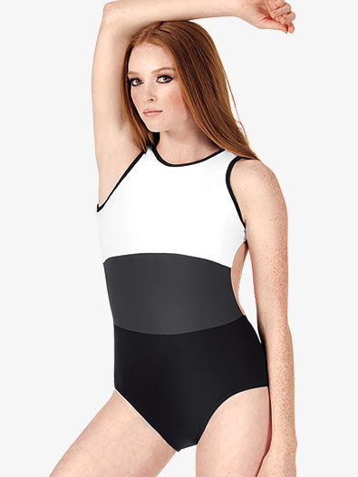 Adult Color Block Open Back Tank Leotard - Style No BF207