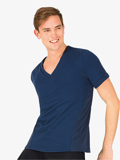 Mens V-Front French Terry Short Sleeve Dance Top - Style No BT5301