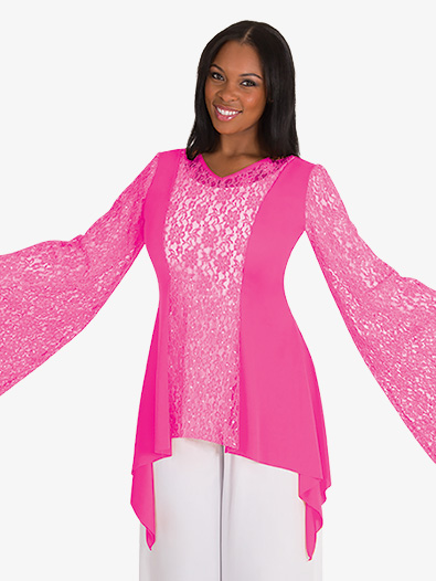 Girls Drapey Lace Panel Worship Tunic - Style No BW0629