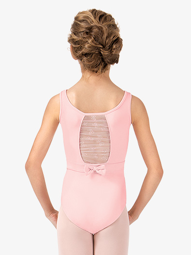 Girls Belted Glitter Bow Back Tank Leotard - Style No CL8675x