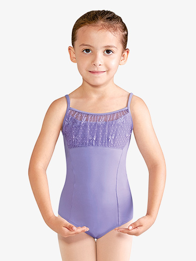 Girls Bow Mesh Knot Back Keyhole Camisole Leotard - Style No CL9957