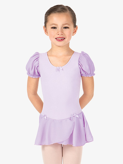Girls Puff Short Sleeve Ballet Dress - Style No D224C