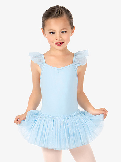 Girls Glitter Mesh Flutter Sleeve Ballet Dress - Style No D2462C