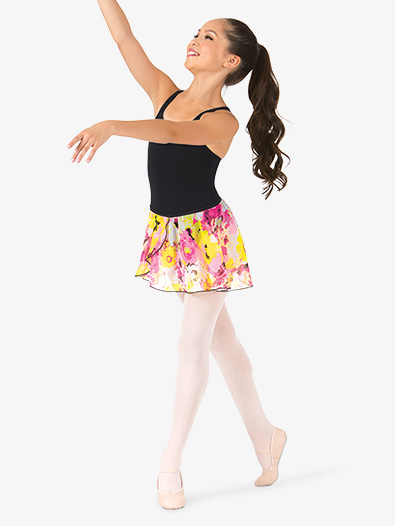 Girls Floral Print Pull-On Ballet Skirt - Style No D2622C