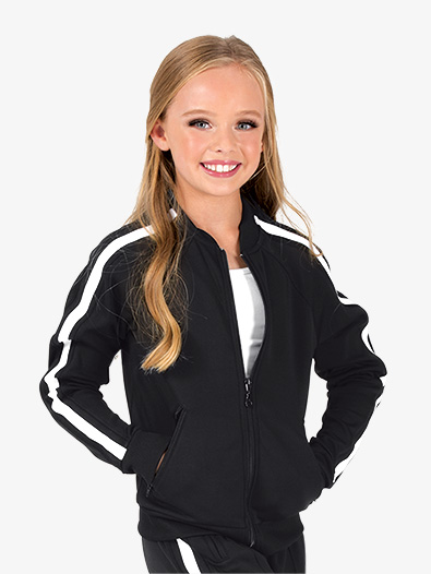 Girls Team Zip Up Long Sleeve Striped Jacket - Style No D3046C