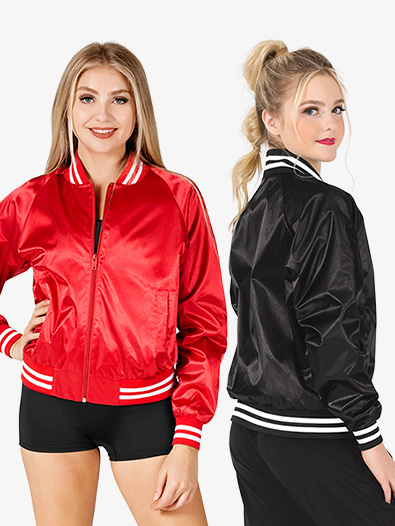 Womens Satin Dance Bomber Jacket - Style No D3048