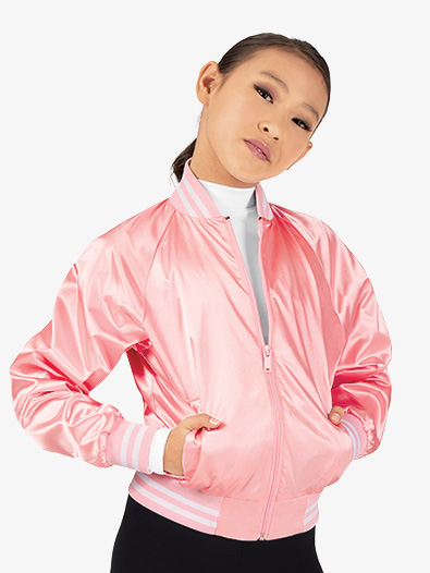 Girls Satin Dance Bomber Jacket - Style No D3048C