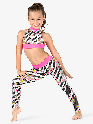 Girls Floral Stripe Dance Leggings - Style No DB300C