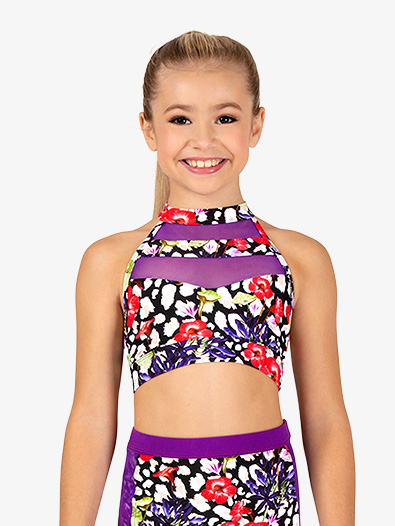 Girls Leopard Floral Dance Bra Top - Style No DB306C
