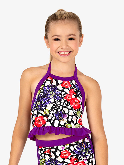 Girls Ruffled Leopard Floral Dance Bra Top - Style No DB308C
