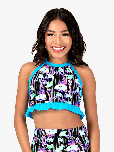 Girls Neon Floral Print Halter Dance Crop Top - Style No DB322C