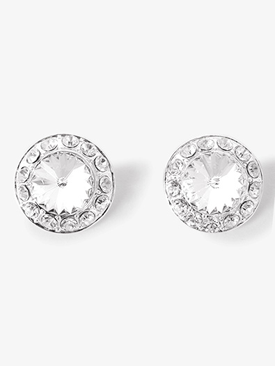 18mm Clear Stone Clip On Earring - Style No EC12AS
