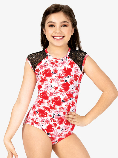 Girls Floral Mesh Cap Sleeve Leotard - Style No ELA19C