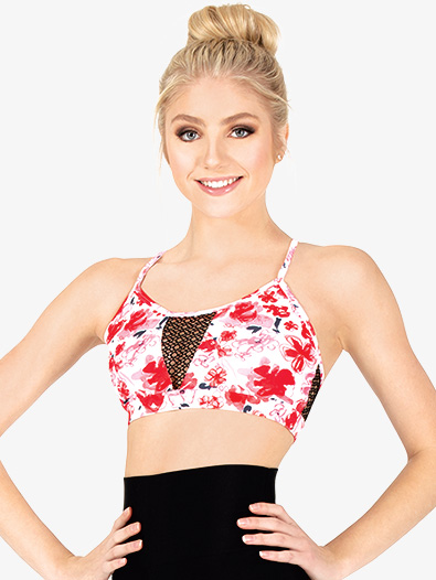 Womens Floral Camisole Dance Bra Top - Style No ELA21