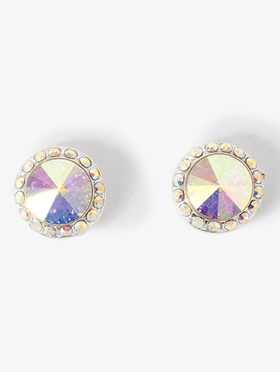 10mm Silver Plated Post Iridescent Rhinestone Earrings Style No Ep8ai