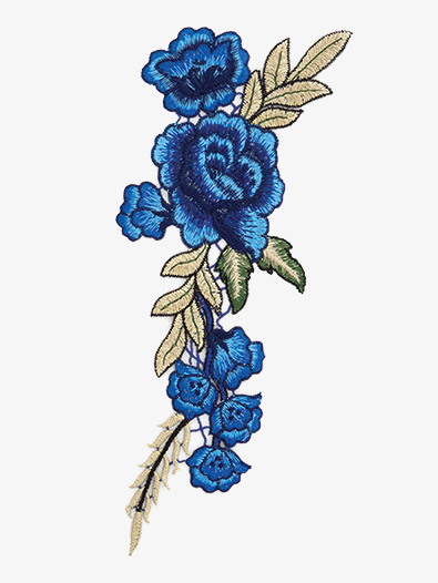 Rose Embroidered Iron-On Applique - Style No ERA