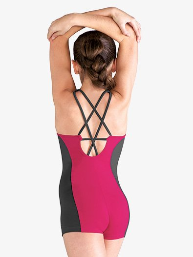 Girls Two-Tone Strappy Back Dance Shorty Unitard - Style No FM5087C