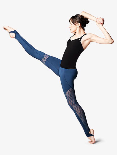 Womens Diamond Mesh Stirrup Dance Leggings - Style No FP5044