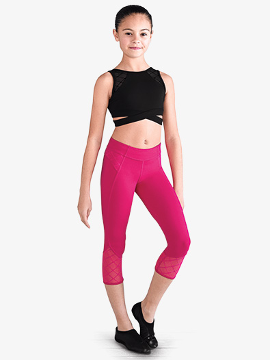 Girls Diamond Heart Mesh Capri Dance Leggings - Style No FP5069C