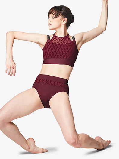 Womens Diamond Mesh High Waist Dance Brief - Style No FR5041