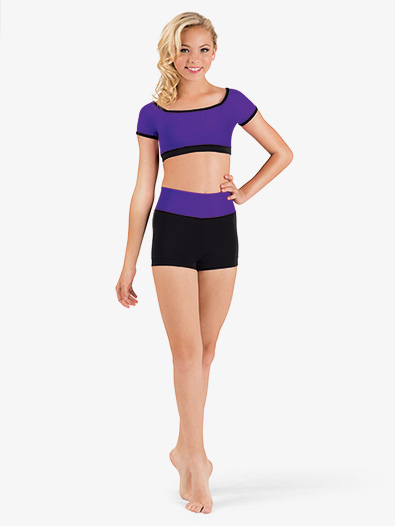 Girls Color Block Banded Dance Short - Style No FW134