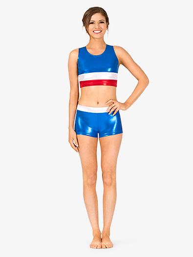 6d3ec042a7374 Womens Gymnastics Patriotic Print Shorts - Style No G688