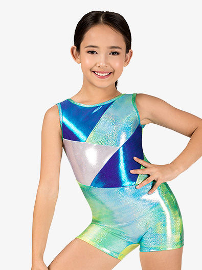 Girls Gymnastics Glitter Print Tank Shorty Unitard - Style No G722C