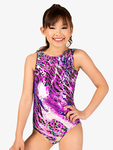 Girls Gymnastics Animal Print Tank Leotard - Style No G724C