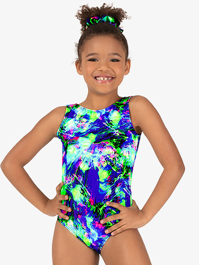 Girls Gymnastics Lime Green Splatter Tank Leotard - Style No G730C