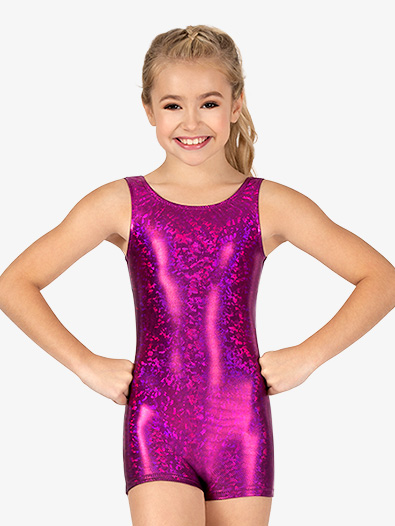 Girls Gymnastics ''Disco'' Foil Tank Shorty Unitard - Style No GB130C