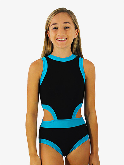 Girls Black and Blue Side Cutout Tank Leotard - Style No HCEBSBC