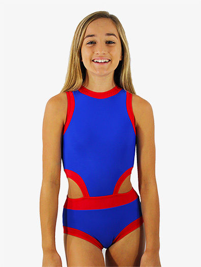 Girls Blue and Red Side Cutout Tank Leotard - Style No HCERBRC
