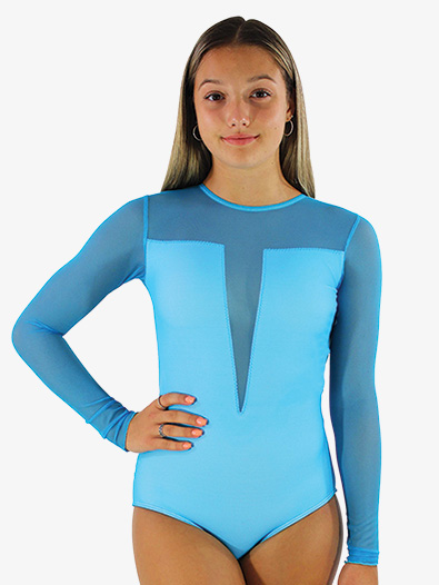 Girls/Womens Sheer Mesh Long Sleeve Leotard - Style No HSB
